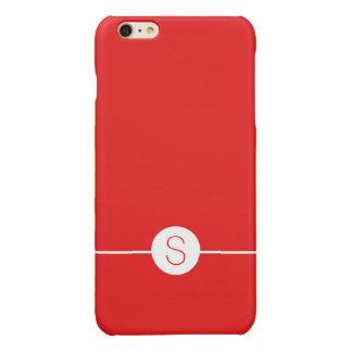 Plain Red White Monogram - Minimalist iOS 8 Style Glossy iPhone 6 Plus Case