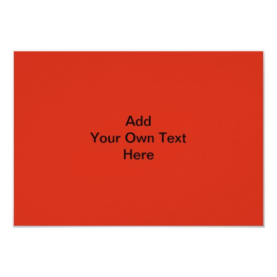 Plain Red with Black Text. Custom Card