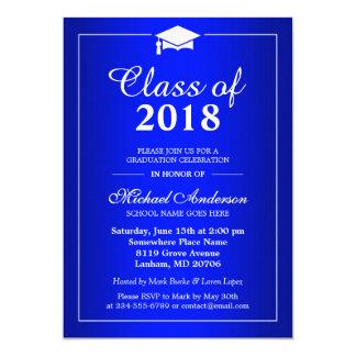Plain Royal Blue Class Of 2017 Graduation Party Card
