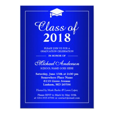 CardHunter Plain Royal Blue Class Of 2017 Graduation Party Card
