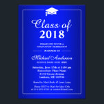"""Plain Royal Blue Class Of 2018 Graduation Party Card<br><div class=""""desc"""">Customize this &quot;Plain Royal Blue Class Of 2018 Graduation Party Invitation&quot; to invite your friends and family to your Grad Party. It&#39;s easy to personalize to be uniquely yours. (1) For further customization, please click the &quot;customize further&quot; link and use our design tool to modify this template. (2) If you...</div>"""