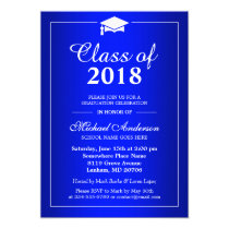 Plain Royal Blue Class Of 2018 Graduation Party Card