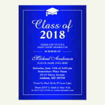 Plain Royal Blue Class Of 2018 Graduation Party Invitation