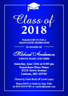 Graduation invitations zazzle plain royal blue class of 2018 graduation party invitation filmwisefo