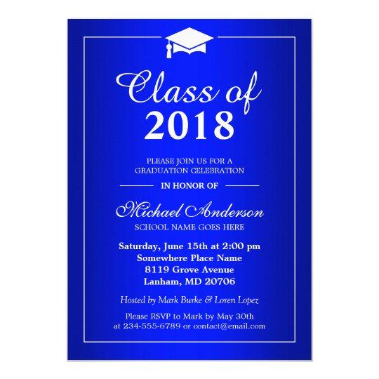 plain royal blue class of 2018 graduation party invitation zazzle com