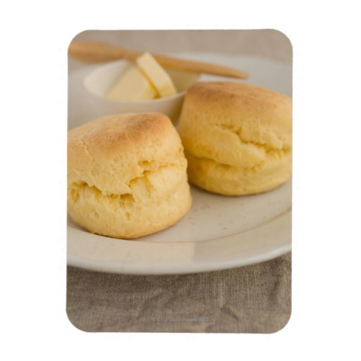 Plain scone with butter on plate flexible magnet
