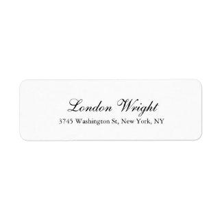 Plain Script Elegant Classical Trendy Black White Label