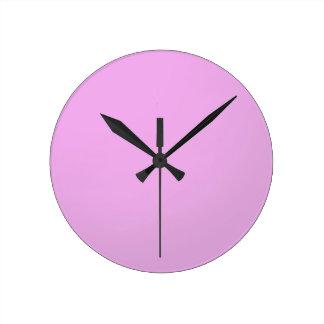 Plain Shade Pink: Write on or add image Round Wall Clocks