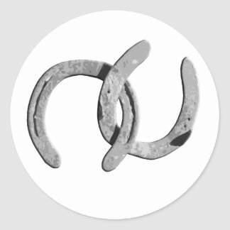 Plain Silver Horse Shoes Classic Round Sticker
