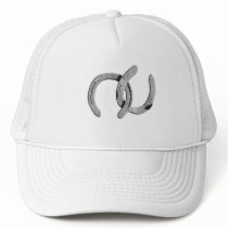 Plain Silver Horse Shoes Trucker Hat