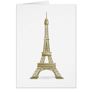 Plain Simple Bronze Color Eiffel Tower Monument Card