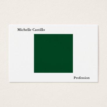 Beach Themed Plain Simple Forest Green White Minimalist Modern Business Card