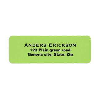 Plain simple green background black text custom label