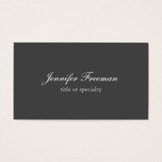 Plain Simple Grey Classical Handwriting Business Card