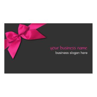 Plain Simple Hot Pink Ribbon on Dark Grey Double-Sided Standard Business Cards (Pack Of 100)
