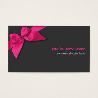 Plain Simple Hot Pink Ribbon on Dark Grey Business Card