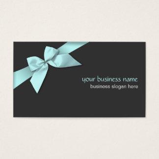 Plain Simple Light Blue Ribbon on Dark Grey Business Card