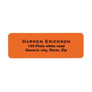 Plain simple orange background black text custom label