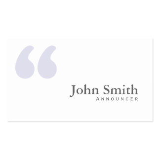 Plain Simple Quotes Announcer Business Card
