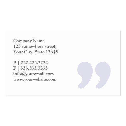 Plain Simple Quotes Baker Business Card (back side)