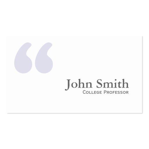 Plain Simple Quotes Professor Business Card