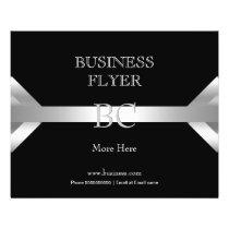 Plain Simple Silver Black White Monogram 4D Flyer