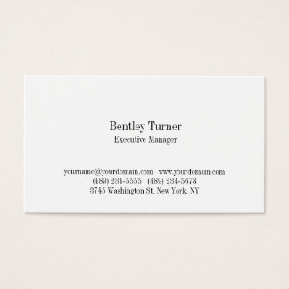 Plain Simple White Classical Professional Business Card