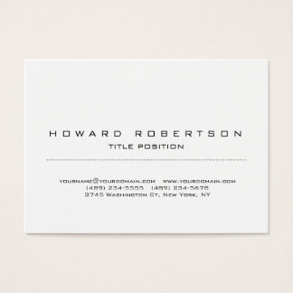 Plain Simple White Minimalist Legible Business Card