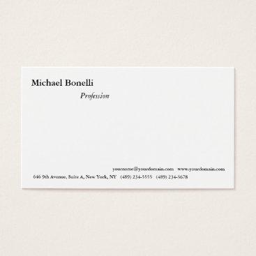 Beach Themed Plain Simple White Minimalist Modern Look Business Card