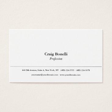 Beach Themed Plain Simple White Minimalist Modern Professional Business Card