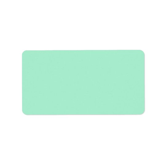 Plain solid color mint green background blank label