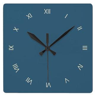 Plain Steel Blue Square Wall Clock