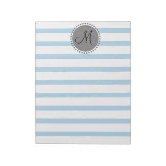 Plain Stripes Pattern Memo Monogram Note Pad