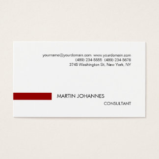 Plain Stylish Red Black White Business Card
