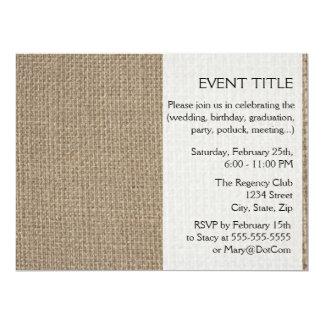 Plain tan burlap background template personalized announcement