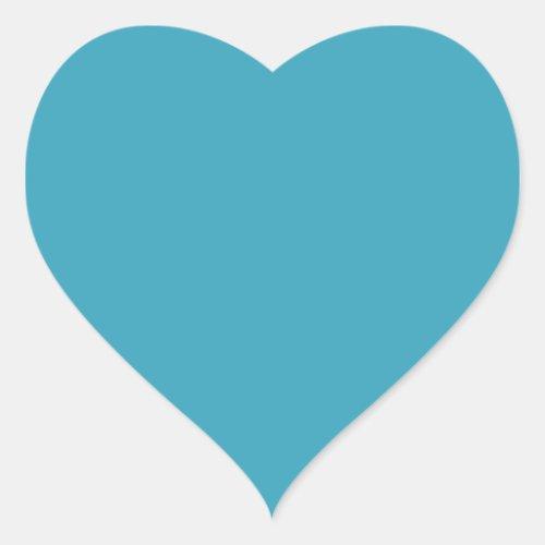 Plain teal blue background heart shaped heart sticker