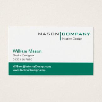 Plain Teal Green & White Corporate Stylish Card