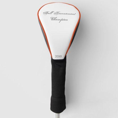 Plain Text Tournament Champion Personalized Golf Head Cover
