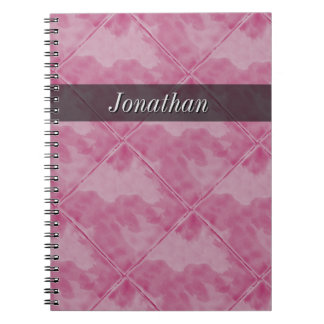 Plain Tile Ceramic Surface Pink any Text Spiral Notebook