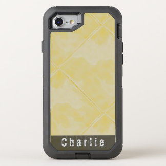 Plain Tile Ceramic Surface Yellow any Text OtterBox Defender iPhone 7 Case