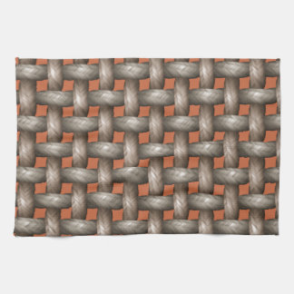 Plain Weave Texture On Copper. Chic Reddish Brown Hand Towels