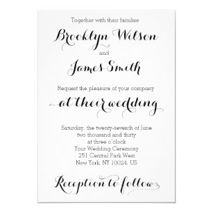 plain wedding invitations zazzle