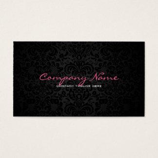 Plain White & Black Reversible Floral Damasks Business Card