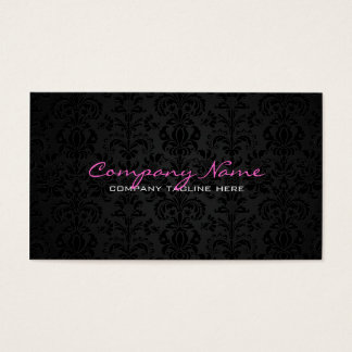 Plain White & Black Vintage Floral Damasks 2 Business Card