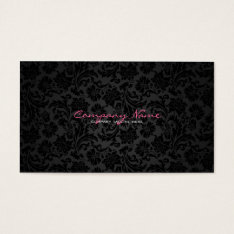 Plain White & Black Vintage Floral Damasks Business Card at Zazzle