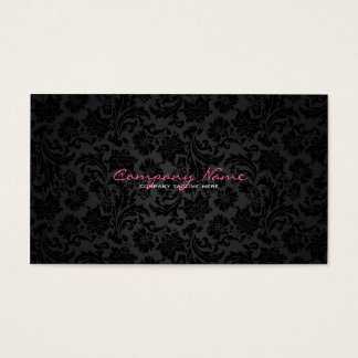 Plain White & Black Vintage Floral Damasks Business Card