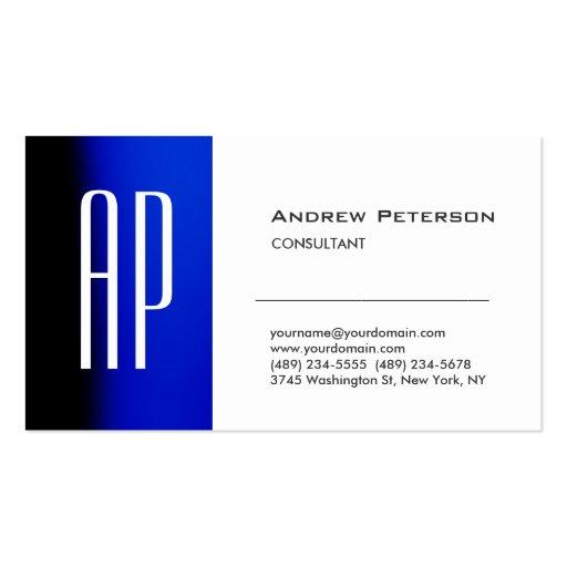 Plain White Blue Trendy Monogram Business Card