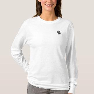 Plain White Ladies Long Sleeve Custom Monogram Embroidered Long Sleeve T-Shirt