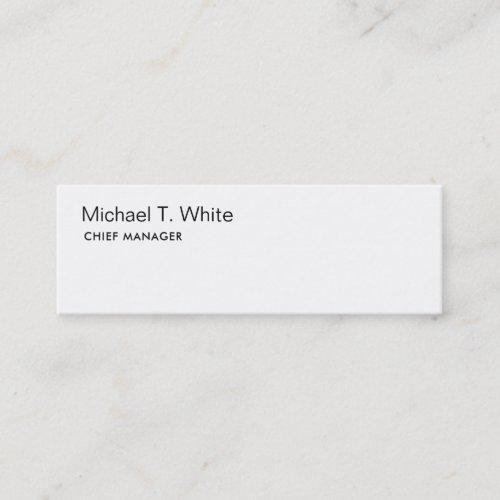 Plain White Modern Minimalist Slim Mini Business Card