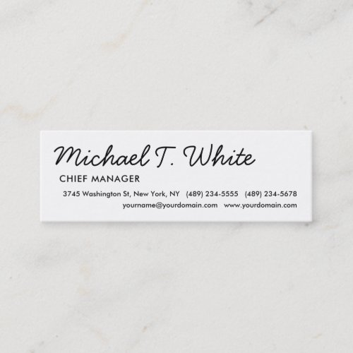 Plain White Modern Script Minimalist Slim Mini Business Card